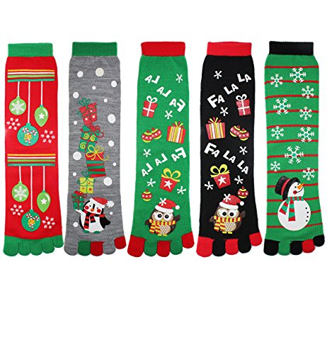 Zmart Women Girls Colorful Cotton Crew Toe Christmas Socks