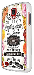 SAMSUNG Galaxy S4 Active i9295 Floral Shabby Chic Christian Quote She Is Clothed In Strength And Dignity And She Laughs Without Fear Of The Future 215 Design Case Back Cover Hard plastic / Thin Metal