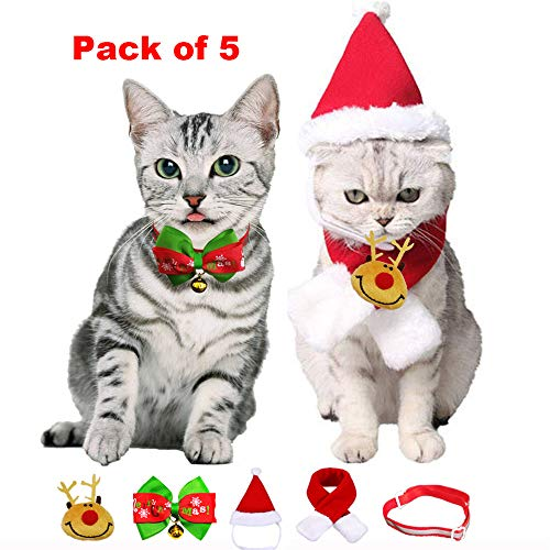 Dog Cat Costume for Christmas, Santa Hat Scarf Collar Bow Tie Reindeer Brooch, Merry Christmas New Year Outfit for Small Dog Puppy Kitten (Christmas For New Kitten)