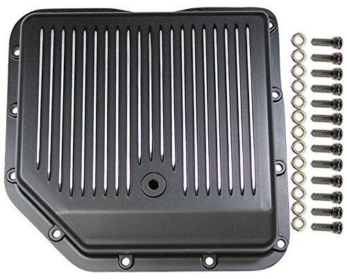 Pirate Mfg Chevy Black Finned Aluminum Turbo 350 Transmission Pan CBC TH-350 TH350 - Engine Oil Gasket 350 Pan