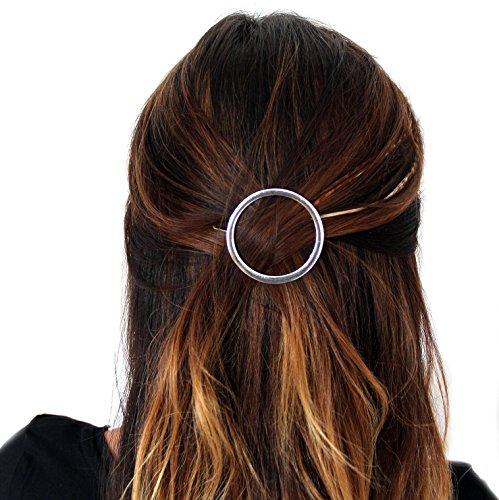 Geometrische Haarspange Haarschmuck Haarklammer Klammer Spange Kreis Dreieck Halbmond in Silber- und Gold-Optik von DesiDo® (Kreis Silber)
