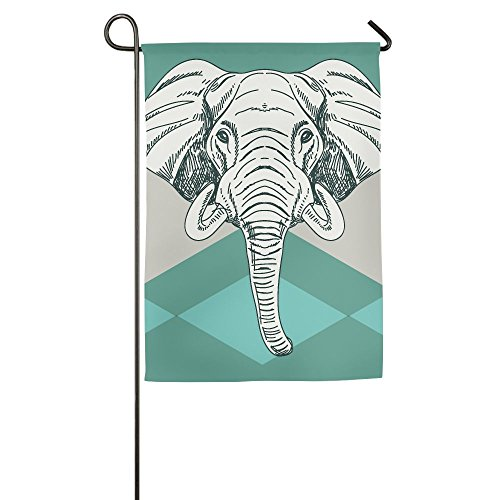 Hexu Elephants Contemporary Image Of Elephant Head With Minimalist Print Boho Style Modern Family Garden House Home Demonstration Competition Flag - Contemporary Single Images Style