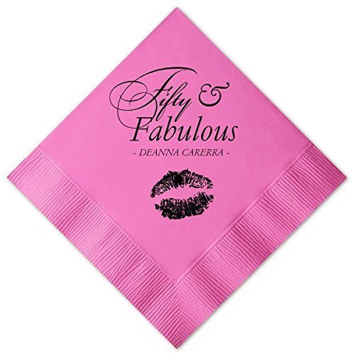 Personalized Birthday Cocktail Napkins, Custom 50 & Fabulous, Guest Towel, Adult Decor -