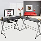 Elecwish Wood L-Shape 3 Piece Corner Computer Desk Large Size PC Laptop Kedboard Tray Table Workstation Home Office Black
