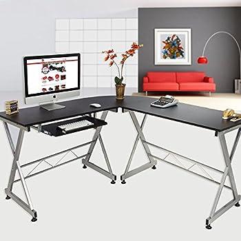 Elecwish Wood L-Shape 3 Piece Corner Computer Desk Large Size PC Laptop Kedboard Tray Table Workstation Home Office Black