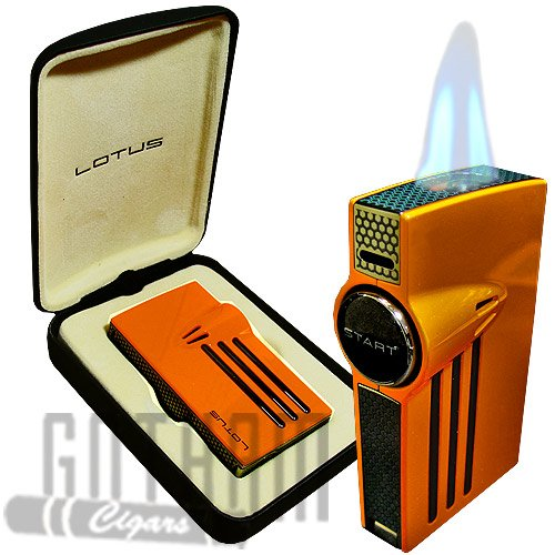 (NEW LOTUS ORION L52 TWIN TORCH FLAMES CIGAR LIGHTER - ORANGE)