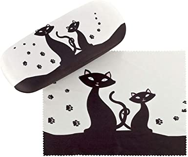 VON LILIENFELD Estuche Gafas Funda Ligeramente Estable Colorido Regalo Mujer Motivo Gatos negros: Amazon.es: Ropa y accesorios