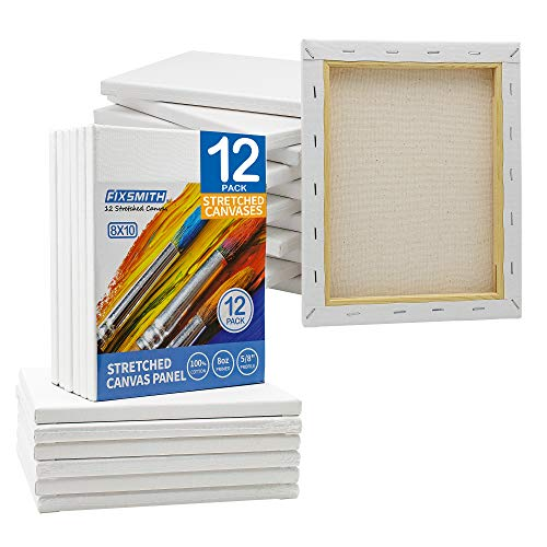 FIXSMITH Professional Quality Pre-Stretched Canvas for Painting Crafts Drawing,100% Cotton,Primed,Acid Free,Suitable for Beginners,Professional Artists,Hobby Painters,Students & Kids.