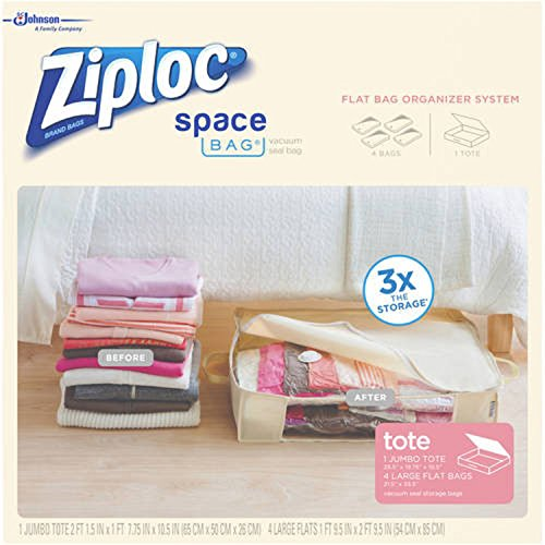 Ziploc Large Space Bag Vacuum Seal Bags and Jumbo Tote, 5-Pi