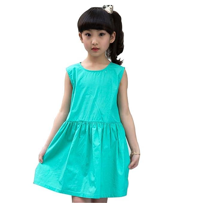 Amur Leoprad Vestido Retro para Niña de Verano con Color Sólido con Arruga Volante Vestido Azul