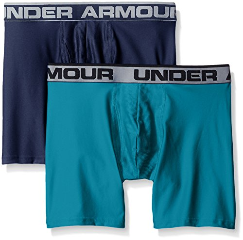 Under Armour Mens Original Series 6  Boxerjock 2 Pack  Midnight Navy Turquoise Sky  X Large