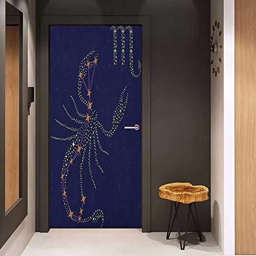 Door Wall Sticker Zodiac Scorpio Celestial Background with The Scheme of Stars in Constellation Mural Wallpaper W30 x H80 Indigo Yellow and Orange