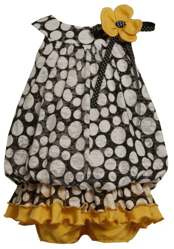 Bonnie Jean Baby/NEWBORN 3M-9M 2-Piece BLACK/WHITE YELLOW KNIT BUBBLE RUFFLE BURNOUT DOT Special Occasion Wedding Flower Girl Party Dress