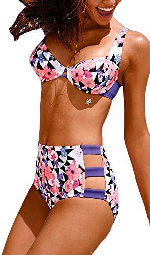 Damen Bikini Push Up Elegant Sommer Tankini Tailliert Shorts Tops Bikinis Mode Blumen Casual Beach 2 Stück Pink