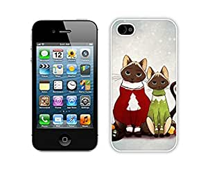 Personalized Hard Shell Christmas Cat White iPhone 4 4S Case 10