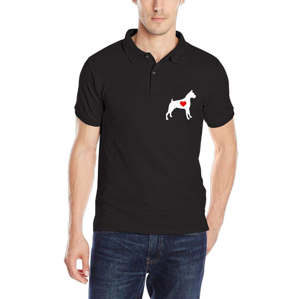 German Boxer with Heart-1 Mens Short Sleeve Polo Shirt Regular Blouse Sport Tee