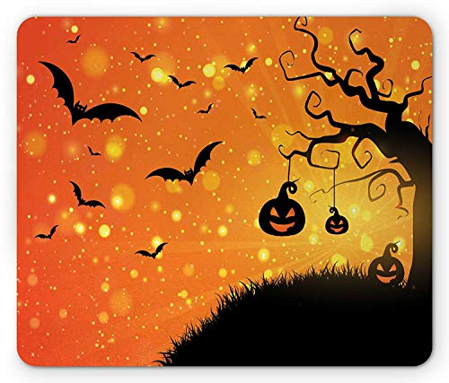 Halloween Mouse Pad, Magical Fantastic Evil Night Icons Swirled Branches Haunted Forest Hill, Standard Size Rectangle Non-Slip Rubber Mousepad, Orange Yellow Black -