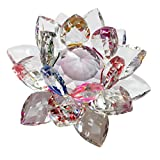 """LK-CRAFTS 3"""" High Quality Crystal Lotus Flower Feng Shui Home Décor with Gift Box _ Multi Color"""