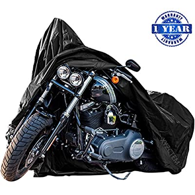 New Generation Motorcycle cover ! XYZCTEM All Weather Black XXXL Large-Best Quality Waterproof Outdoor Protects Fits up to 118 inch Harley Davidson, Honda, Suzuki,Yamaha and More -1 Year Warranty by XYZCTEM