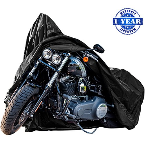 New Generation Motorcycle cover ! XYZCTEM All Weather Black XXXL Large Waterproof Outdoor Protects Fits up to 118 inch for Harley Davidson, Honda, Suzuki,Yamaha and More -1 Year -