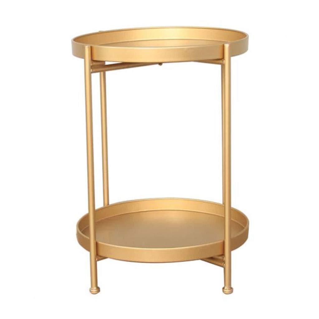 L-Life Tische Beistelltische 51,5 cm Runde Doppel Schmiedeeisen Kaffee Demontage, EIN Paar Couchtische auf dem Sofa im Wohnzimmer (Farbe : Gold)