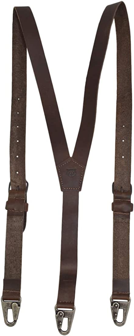 Men's Vintage Style Suspenders Hide & Drink Rustic Leather Y Suspenders Wedding & Party Essentials Easy Fit With 8 Adjustable Holes (Large 5 ft 10 in. to 6 ft 4 in.) Handmade Includes 101 Year Warranty :: Bourbon Brown $48.97 AT vintagedancer.com