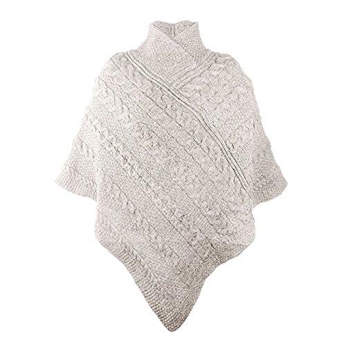 West End Knitwear 100% Irish Merino Ladies Aran Knit Poncho (SmallMedium, ()