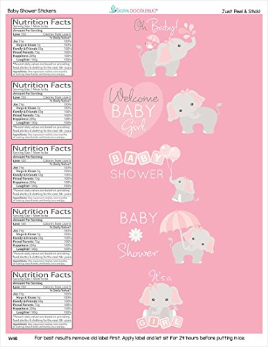 Water Bottle Labels Gray Elephant Set of 25 - Water Theme