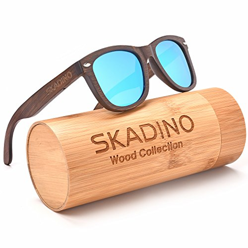 SKADINO Wayfarer Bamboo Sunglasses with Polarized lenses-Handmade Floating Wood Shades for Men&Women-Polished - Ray Bans Reflective