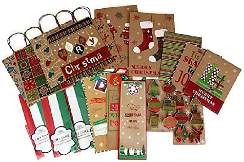Printed Christmas Kraft Gift Bags and Boxes - 55 Pieces- Includes Gift Bags, Gift Boxes, Wine Bottle Gift Bags, Jiggle Gift Tags, Gift Tissue - Christmas Boxes Wine