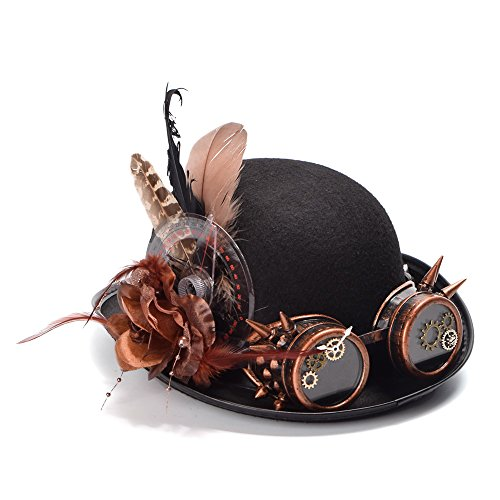 ZHANGCHANG Skin-Friendly Women Steampunk Black Bolwer Hat Feathers Gear Glasses Medieval Cosplay Hat