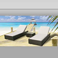 Luxxella Outdoor Patio Wicker Furniture 3 Pc Chaise Lounge Set OFFWHITE from Luxxella