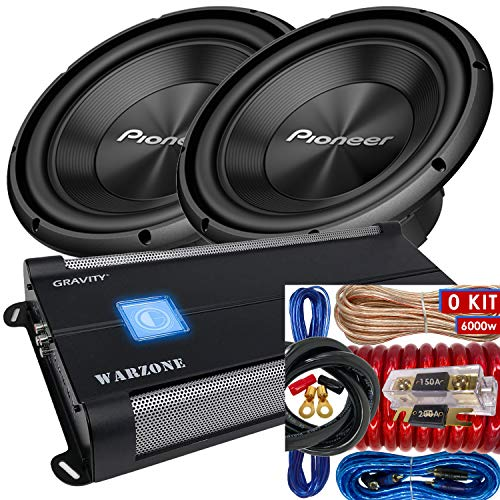 Pair of Pioneer TS-A300D4 12″ Dual 4 Ohms Voice Coil Subwoofer – 1500 Watts (2 Subwoofer) + 6000 Watts Monoblock Amplifier + 0 Gauge Installation Kit Included
