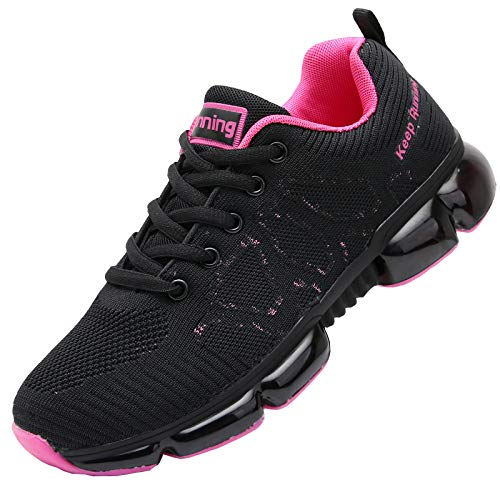 QAUPPE Women's Memory Foam Air Running Shoes Comfortable Cross Trainer Gym Sports Flyknit Tennis Fashion Sneakers Violetblack US 7.5 B(M)