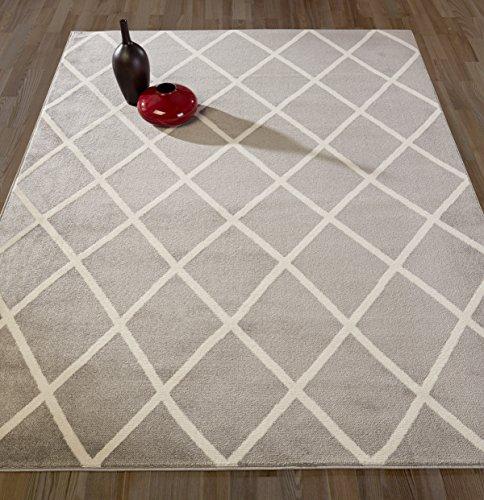 DIAGONA DESIGNS Contemporary Moroccan Trellis Design Area Rug, Grey/Ivory, 94