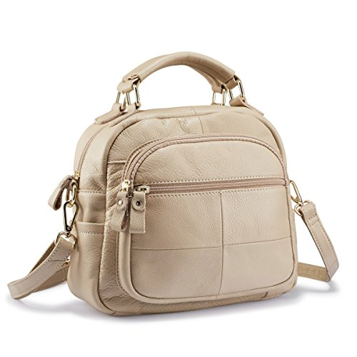 (Lecxci Women Leather Satchel Purses Ladies Crossbody Shoulder Bags Multiple Zipper Pockets Top Handle Handbags (Beige))