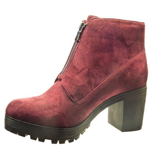 Angkorly - Zapatillas de Moda Botines zapatillas de plataforma Desert Boots mujer Talón Tacón ancho alto 7 CM - Burdeos