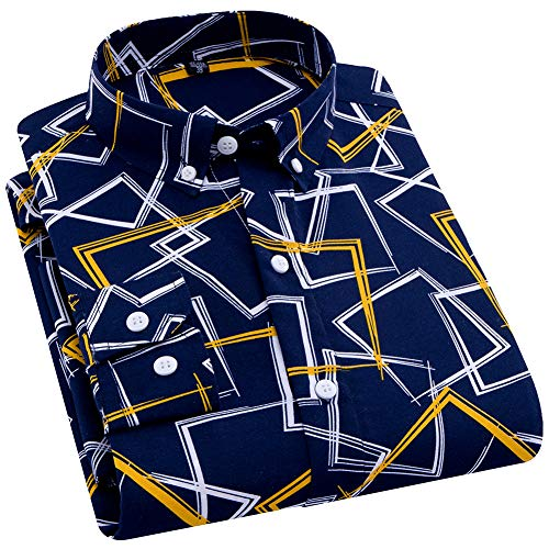 ERZTIAY Men's Classic Casual Vertical Striped Slim Fit Long Sleeve Dress Shirts(Geometric Yellow, Medium) ()
