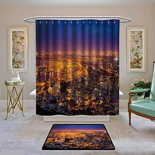 Kenneth Camilla01 Home Decor Shower Curtain by City,Cape Town Panorama at Dawn South Africa Coastline Roads Architecture Twilight,Marigold Blue Pink,Fabric Bath Curtain Bathroom Decor 72