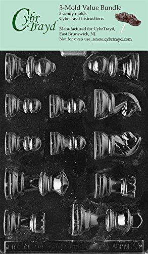 Cybrtrayd M033-3BUNDLE Chess Pieces Chocolate Candy Mold with Exclusive Copyrighted Chocolate Molding Instructions
