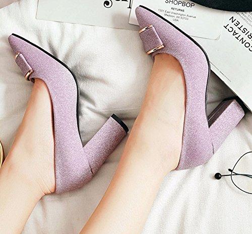 Easemax Femme Brillant Chaussure Pointue Basse Talon Bloc Soirée Escarpins Violet Dj4jTWRg