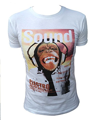 a manica corta Teen anni 8 14 Aeropilote 3 shirt Bambino da Logo Monkey Audio e bianco colori T Headphone HYZ4Xqx