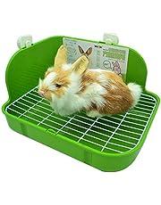 RUBYHOME Rabbit Litter Box Toilet, Plastic Square Cage Box Potty Trainer Corner Litter Bedding Box Pet Pan for Small Animals, Rabbits, Guinea Pigs, Chinchilla, Ferret, Galesaur, 11.4 Inches (Green)