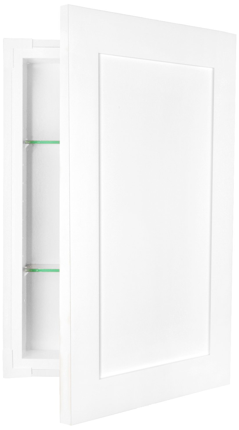 WG Wood Products FR-224-White Shaker Style Frameless Recessed In Wall Bathroom Medicine Storage Cabinet-Multiple Finishes, White Enamel/Glossy