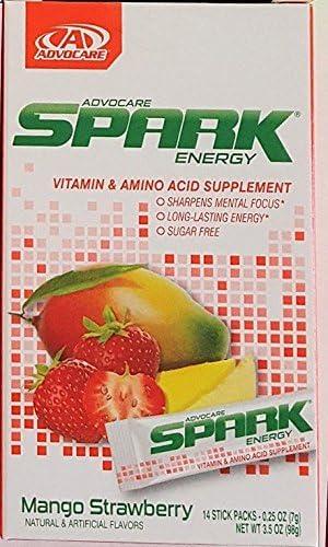 Advocare Spark Mango Strawberry Single Serve Sticks 14 ct Mango Strawberry, Single Serve Sticks by Spark