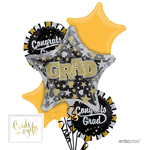 Gold Bouquet - Andaz Press Balloon Bouquet Party Kit with Gold Cards & Gifts Sign, Bouquet Gold Glittering Graduation Decoration, 1-Set