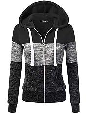 Newbestyle Hoodies for Women Color Block Hooded Sweatshirt Basic Full Zip Jersey Jacket Long Sleeve Top with Pockets