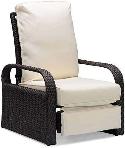 Brown Outdoor Wicker Recliner, Aluminum Frame Adjustable Woven Lounge Chair with Thicken Cushions