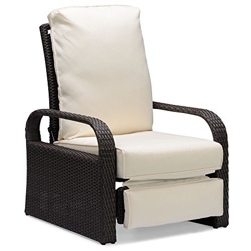 ART TO REAL Brown Outdoor Wicker Recliner, Aluminum Frame Adjustable Woven Lounge Chair with Thicken Cushions Woven Wicker Frame