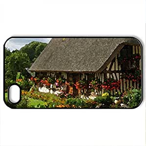 Beautiful cottage - Case Cover for iPhone 4 and 4s (Houses Series, Watercolor style, Black)